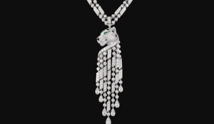 Cartier Diamante Esmeralda ónix Platino Collar Pantera