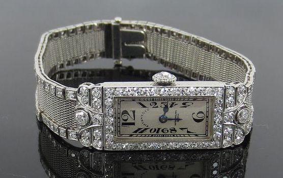 Art Deco Tiffany and Co Patek Philippe Platinum and Diamond Filigree Mesh Watch