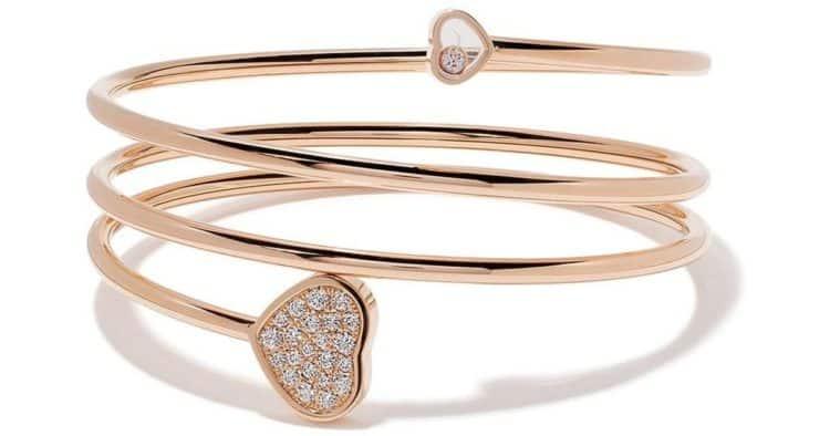 Chopard Happy Hearts twist bracelet with diamonds in rose gold