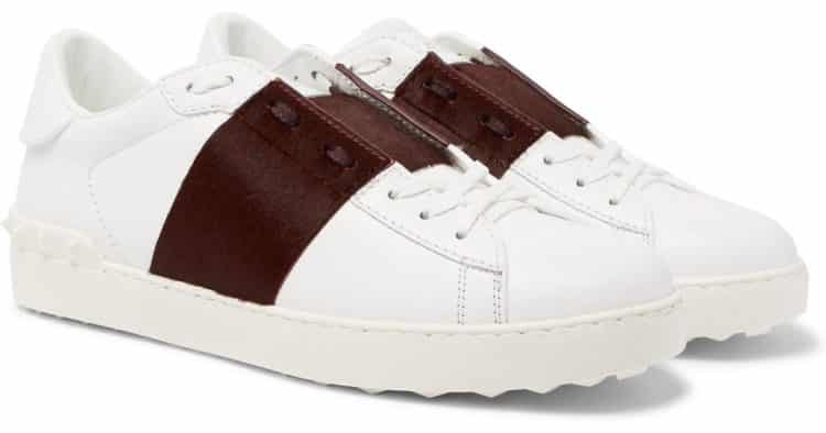 Valentino leather sneakers with open stripe panel