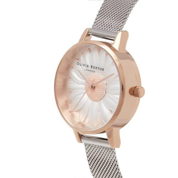 Olivia Burton 3D Daisy Rose Gold and Silver Mesh Watch Los 5 mejores relojes Olivia Burton del mercado actual