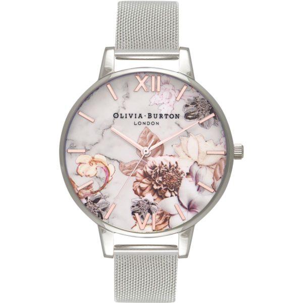 Olivia Burton Ladies Marble Floral Rose Gold and Silver Mesh Watch Los 5 mejores relojes Olivia Burton del mercado actual