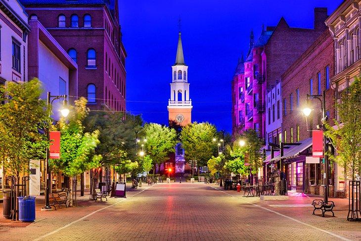 Church Street Marketplace en la noche, Burlington