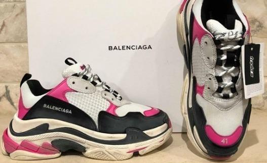 Zapatillas de pista de cuero de técnica mixta Balenciaga (rosa y azul para mujer)