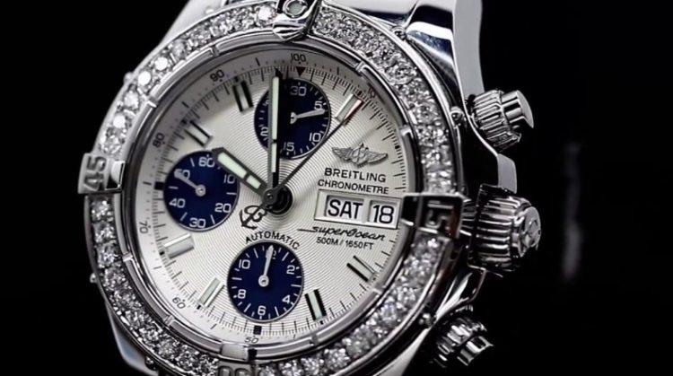 Breitling Diamond Breitling A13340 Super Ocean Reloj automático de acero inoxidable para hombre