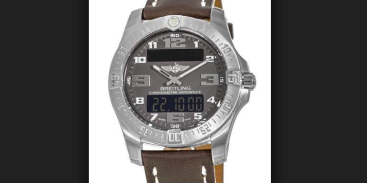 Breitling Professional Aerospace Evo Reloj para hombre con correa de cuero marrón y esfera gris