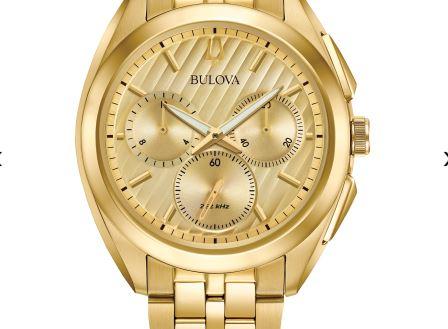 Reloj Bulova para hombre con esfera cronógrafo curvo en tono dorado