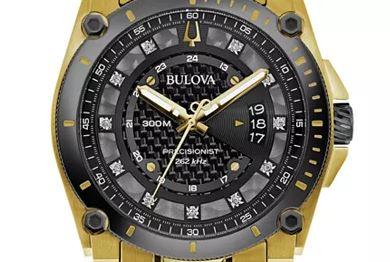 Bulova - Reloj de pulsera con detalle de diamantes en tono dorado y precisión para hombre