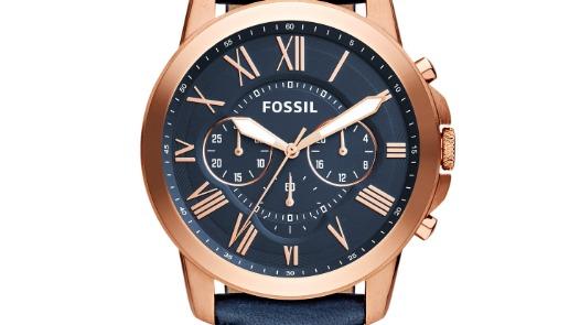 Reloj cronógrafo azul marino en dorado rosa de Fossil Grant