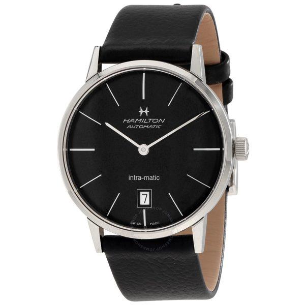 Hamilton Intra Matic Black Dial Leather Mens Watch Los 10 mejores relojes Hamilton de 2019