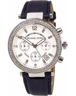 Michael Kors Womens Parker Silver Dial Navy Blue Leather Strap Chronograph Watch Los 7 mejores relojes para mujeres por menos de $ 500
