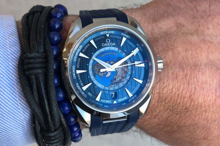 Temporizador mundial coaxial Omega Aqua Terra 150M