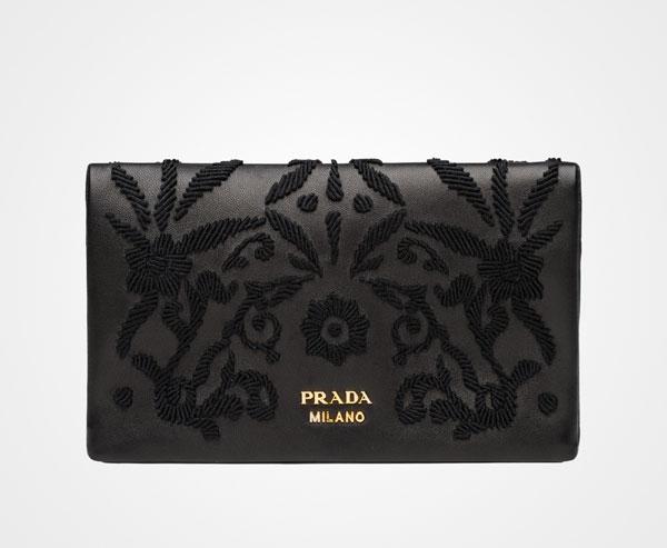 Prada embroidered velvet wallet Las carteras de Prada más caras que puedes comprar ahora mismo