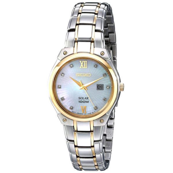 Seiko Womens Solar Core MOP Dial Two Tone Steel Diamond Watch Los 7 mejores relojes para mujeres por menos de $ 500